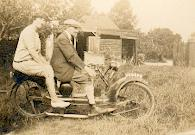 Peter Taylor's grandparents on their ner-a-car motprcycle