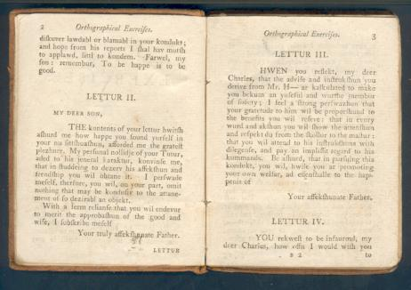 A book of moral letters (c1800) designed to teach pronunciation.