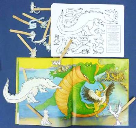 Stick Puppet activity for picture book 'Once a Creepy Crocodile', author Peter Taylor, illustrated by Nina Rycroft
