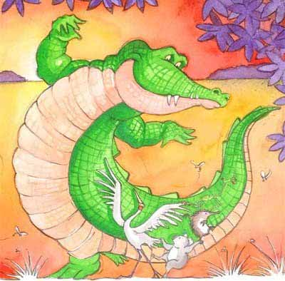 Illustration from Peter Taylor's picture book, 'Once a Creepy Crocodile', artwork by Nina Rycroft.