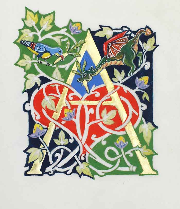 Peter Taylor teaches workshops on calligraphy and gold leaf illumination that include this white vine design.
