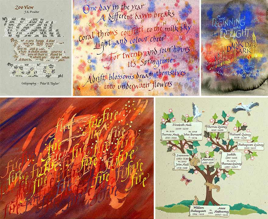 Five examples of Peter Taylor's calligraphic word art illustration, as he discusses in visits and teaches in workshops, .