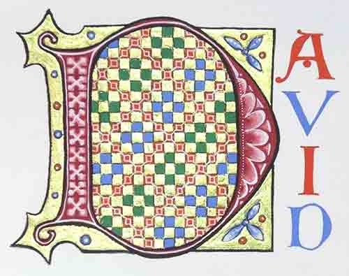 Peter Taylor teaches workshops on calligraphy and illumination, based on his book 'Calligraphy for Greetings Cards and Scrapbooking', in which this image appears shown in this image.