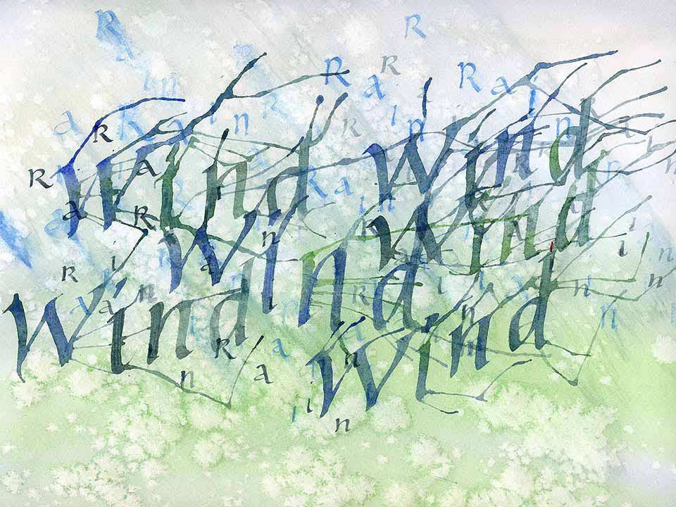 From the book 'Calligraphy for Greetings Cards and Scrapbooking by Peter Taylor. Peter Taylor's word art illustration using calligraphy, as he discusses in visits and teaches in workshops - Wind.