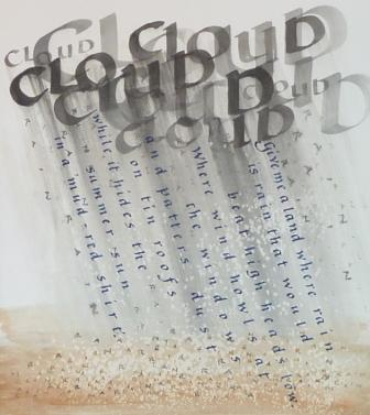 Peter Taylor's word art illustration of a poem, as he discusses in visits and teaches in workshops.