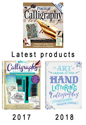 The covers of Peter Taylor's calligraphy books and spin-off products