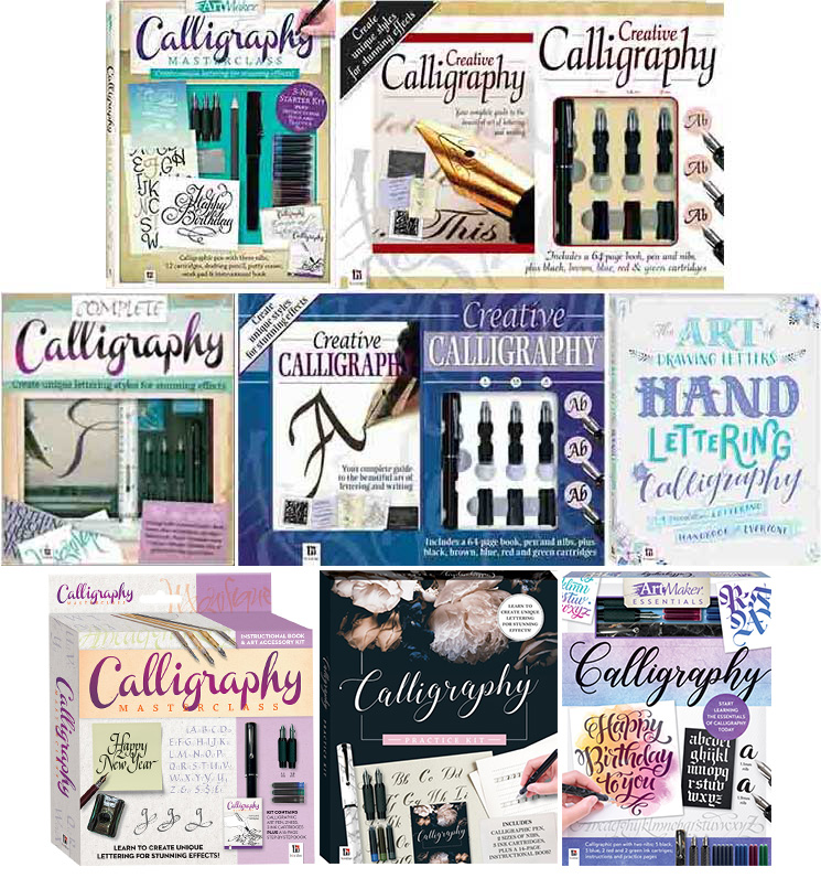 This image has an empty alt attribute; its file name is Calligraphy-books-Hinkler-spinoffs-2021.jpg